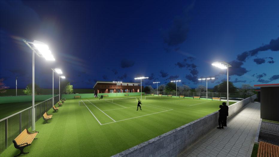 AKIM本社屋・テニスコート / 夜の練習風景