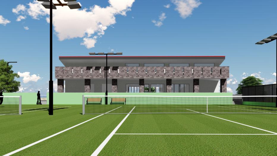 AKIM本社屋・テニスコートと研修センター